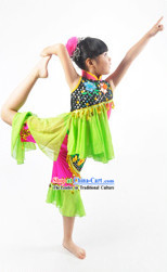 Traditional Chinese Ke Jia Tribe Dance Costume for Children Girls