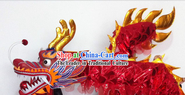 Shinning Red China Dragon Dancing Costumes Props for 19-20 Dancers