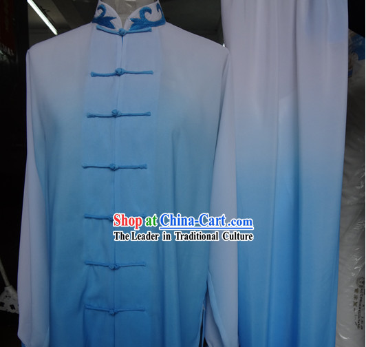 Traditional Chinese Blue Color Transition Silk Kung Fu Tai Chi Competition Uniform
