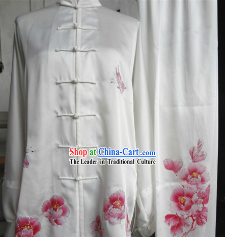 Traditional Chinese White Embroidered Peony Silk Tai Ji Suit