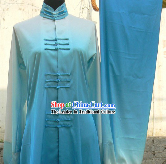 Chinese Blue Silk Color Transition Long Fist Nanquan Martial Arts Uniform Unisex