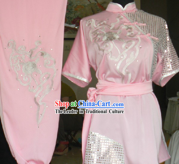 Supreme Chinese Pink Silk Long Fist Southern Fist Kung Fu Suit for International Competition