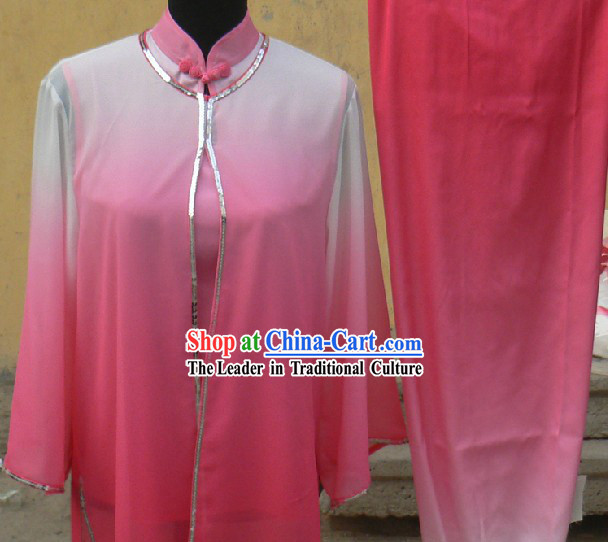 Colour Transition Chinese Silk Kung Fu Clothes Complete Set for Women