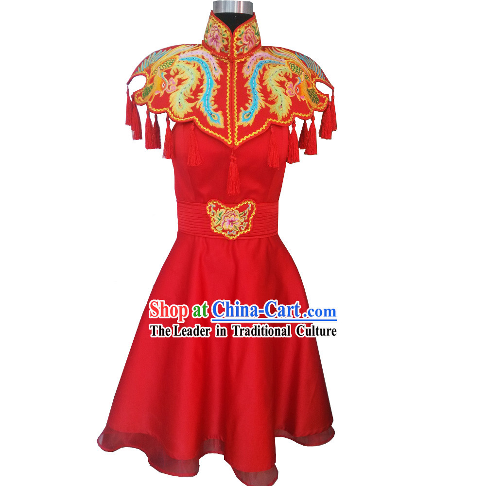 Chinese Classical Hand Embroidered Phoenix Lucky Red Wedding Skirt for Brides