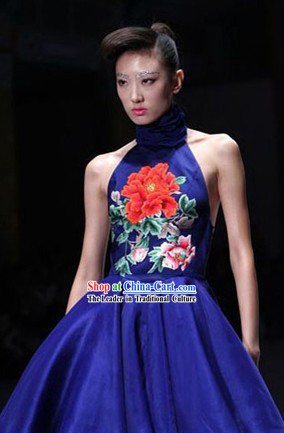 Traditional Chinese Embroidered Peony Evening Dress