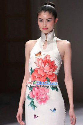 White Chinese Classical Short Cheongsam Evening Dress