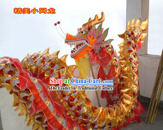 Lightweight Golden and Red Net Dragon Dancing Prop for Adults
