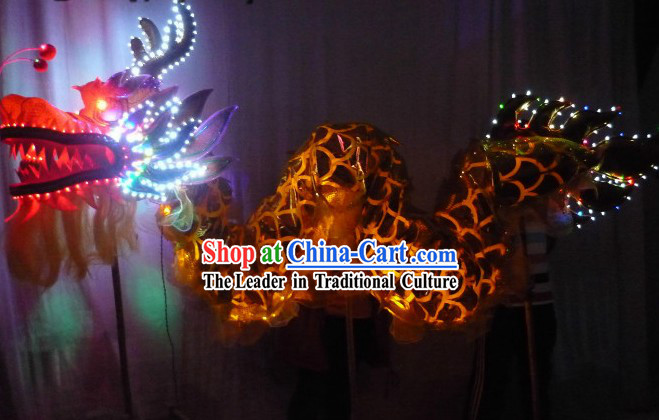 Shinning Gold Dragon LED Lights Dragon Dancing Costumes for Three to Four Adults