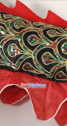 Black Asian Classical Embroidery Dragon Dancing Costumes