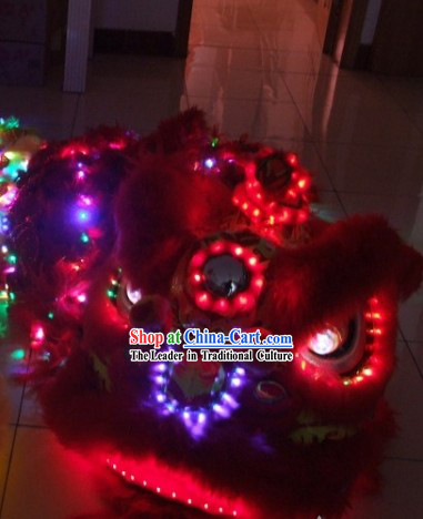 Top LED Lights Long Wool Lion Dance Costumes Props Complete Set