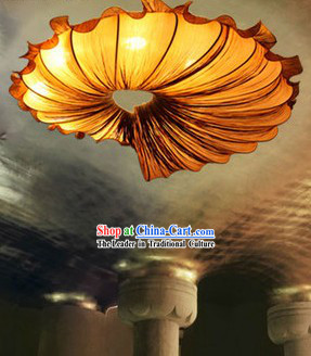 Big Handmade Orange Chinese Trumpet Shell Shape Ceiling Lantern