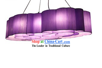 Unique Handmade Fabric Purple Clouds Set Lantern Group