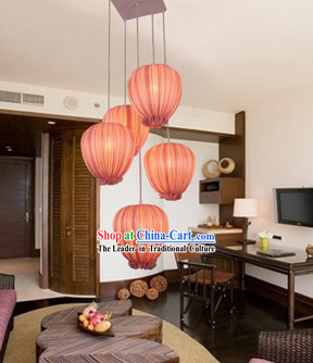 Handmade Chinese Pomegranate Shape Fabric Hanging Lanterns Group