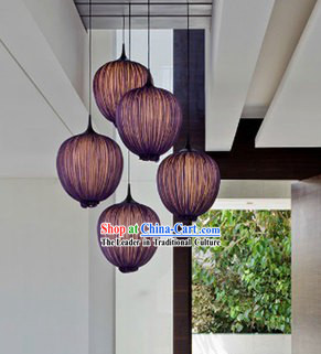 Handmade Chinese Purple Pomegranate Shape Fabric Hanging Lanterns Group