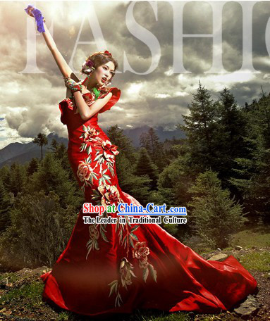 Traditional Chinese Red Peony Wedding Dress Long Skirt