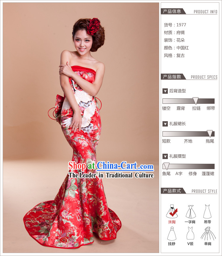 2013 New Design Long Tail Cranes Embroidery Wedding Evening Dress Attire