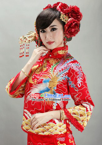 Traditional Chinese Mandarin Phoenix Embroidery Wedding Blouse and Skirt Outfit Set for Women
