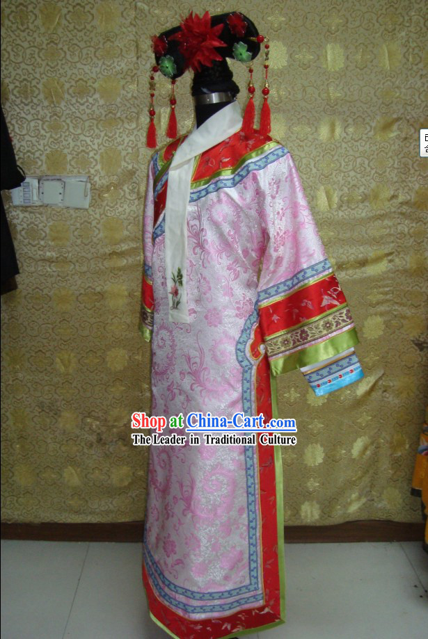 China Qing Dynasty Imperial Palace Lady Costumes and Headpiece