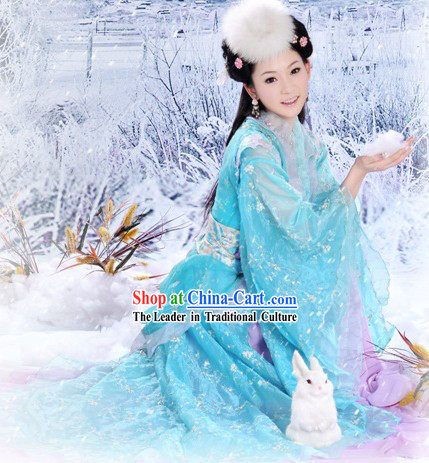 Ancient Chinese Tang Dynasty Blue Princess Costume and Hair Accessories