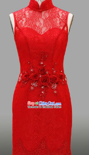 Summer Wear Lace Classical Chinese Red Wedding Evening Dress