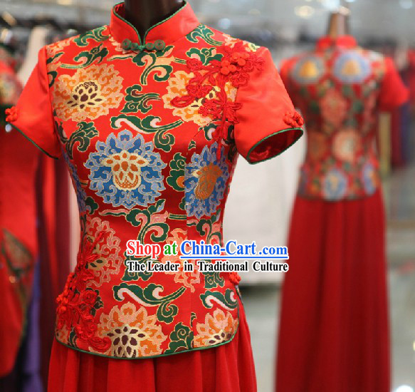Xiao Feng Xian Traditional Classic Chinese Red Wedding Suit