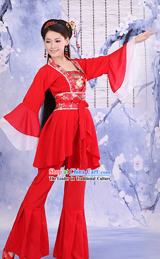 Ancient Chinese Red Stage Performance Dance Costumes for Women