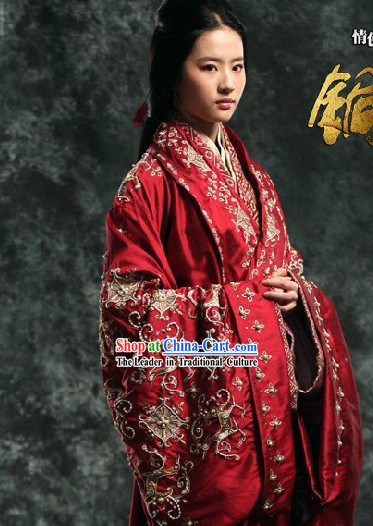 Ancient Chinese Tong Que Tai Red Liu Yifei Empress Costumes