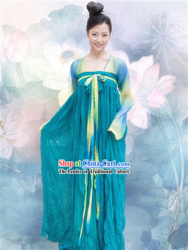 Ancient Chinese Blue Tang Dynasty Imperial Palace Clothing for Women