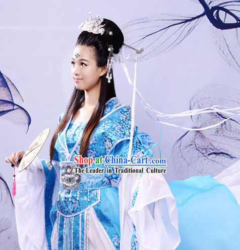 Ancient Chinese Blue Princess Clothing and Hair Accessories Complete Set