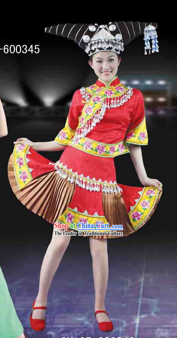 Guang Xi Zhuang Tribe Minority Ethnic Clothing and Headdress for Women