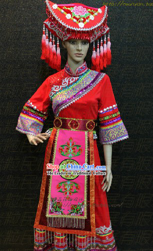 Guang Xi Zhuang Tribe Minority Ethnic Clothes and Headdress for Women