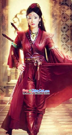 Ancient Chinese Red Swordswoman Knight Costumes