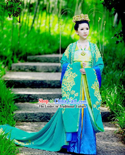 Traditional Chinese Tang Dynasty Princess Clothes and Crown