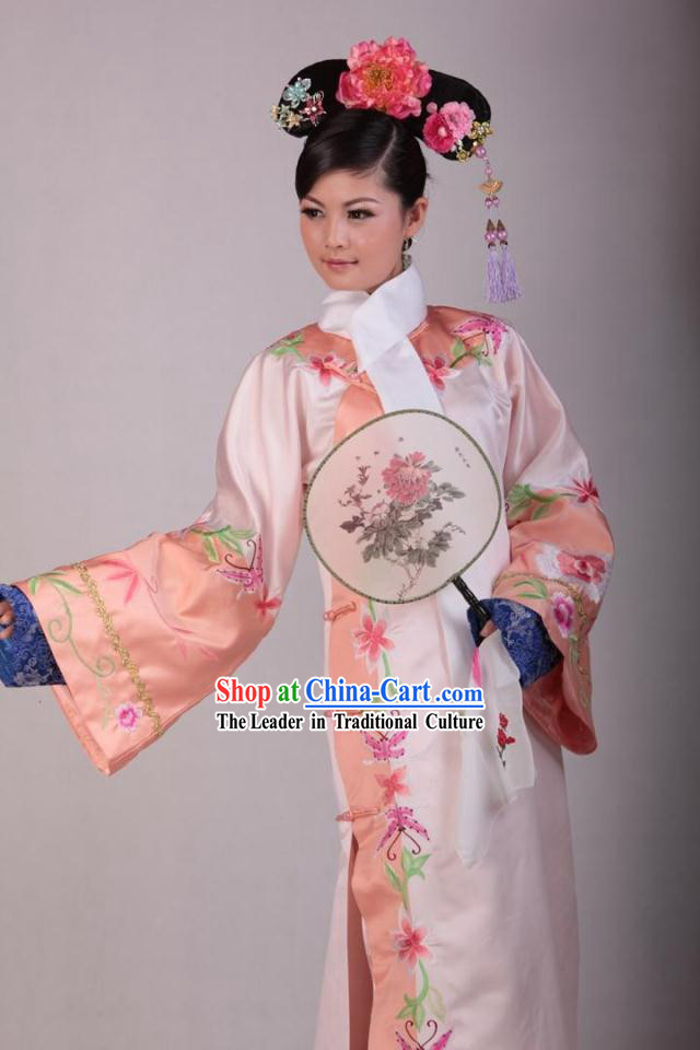 Qing Dynasty Palace Maid Costumes and Headdress Complete Set