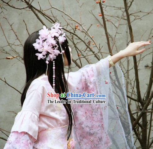 Ancient Chinese Pink and White Imperial Princess Garment and Flower Hair Accessories Complete Set