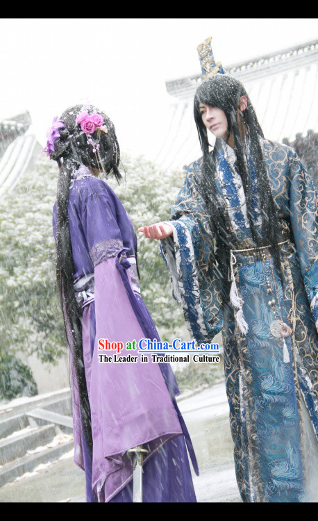 Traditional Chinese Ancient Prince Outfit and Crown for Men