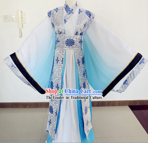 White and Blue Color Transition Traditional Chinese Ancient Male Outfit