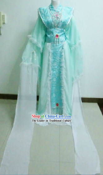 Ancient Chinese Light Blue Dancing Queen Costumes