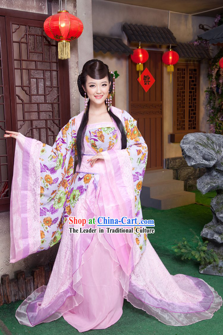 Traditional Ancient Chinese Tang Dynasty Female Clothes with Long Tail