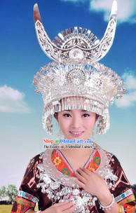Traditional Hmong Miao Silver Hat for Women