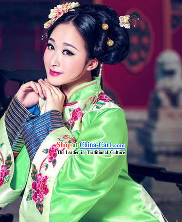 Green Traditional Chinese Manchu Embroidery Robe for Ladies