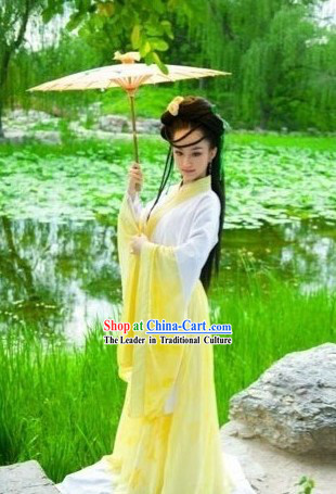 Yellow Traditional Ancient Chinese Lady Clothes