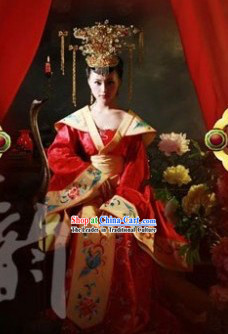 Red Traditional Ancient Chinese Wedding Suit and Crown for Women
