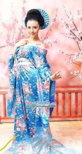 Blue Chinese Classical Guzhuang Flower Clothing for Women