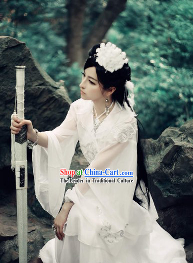 Pure White Ancient Chinese Fairy Cosplay Costumes and Headwear Complete Set