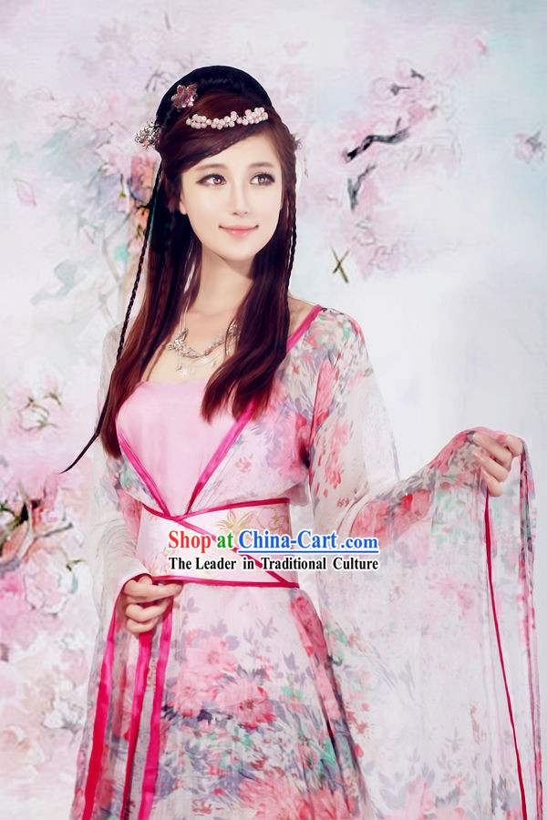 Shen Diao Xia Lv Huang Rong Flower Hanfu Clothing for Ladies