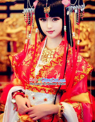 Ancient Chinese SD BJD Princess Costume and Headwear Complete Set for Women