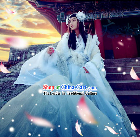 Ancient Chinese White Princess Cosplay Costumes Complete Set