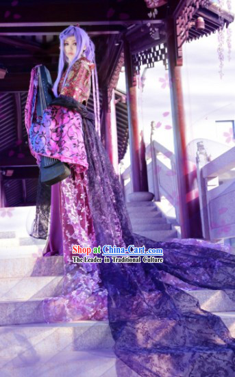 Ancient Chinese Stage Performance Purple Concubine Cosplay Costumes and Headpieces Complete Set