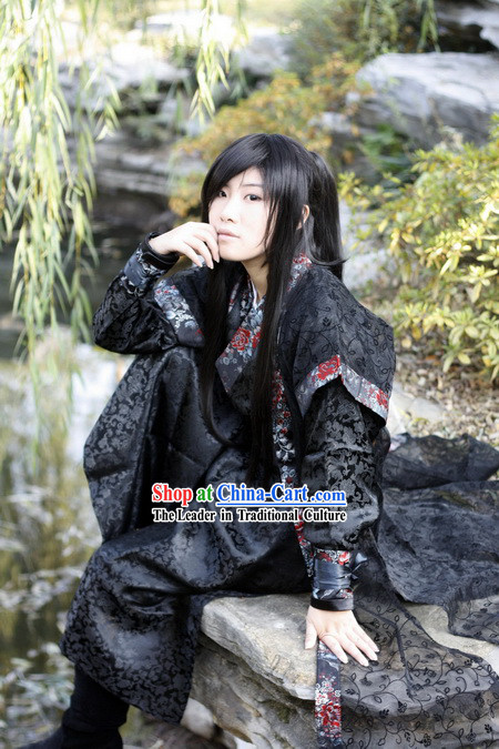 Ancient Chinese Black Swordsman Costumes Complete Set for Men